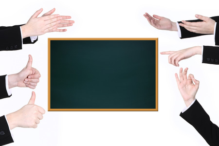 many Hand sign on white wall and black board photo