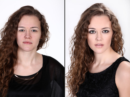 before after a woman as a collage