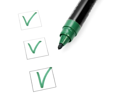 Check list and green marker