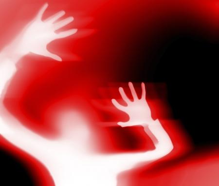 Silhouette di una donna che urla Archivio Fotografico