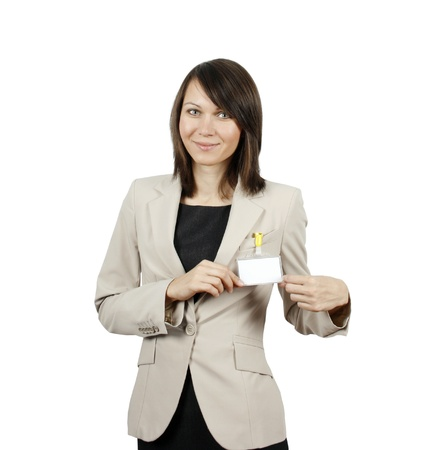 Businesswoman showing her badge isolated on white background  photo