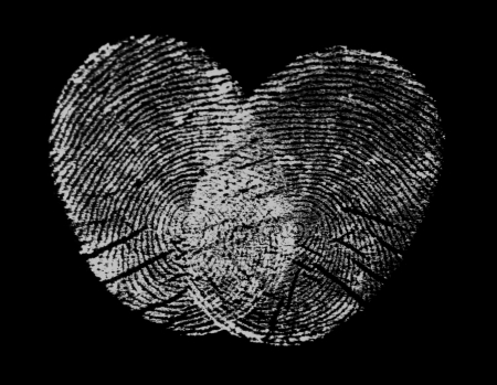 Heart made of fingerprints photo