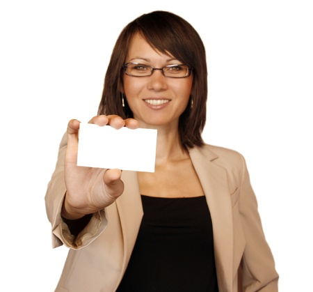 businesscard: Businesswoman showing businesscard isolated on white background Stock Photo