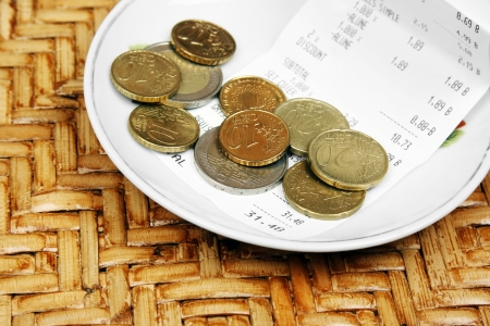 Tip on a restaurant table  Stock Photo