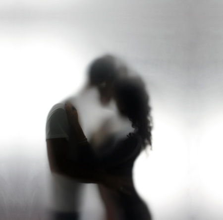 Silhouettes of a two lovers