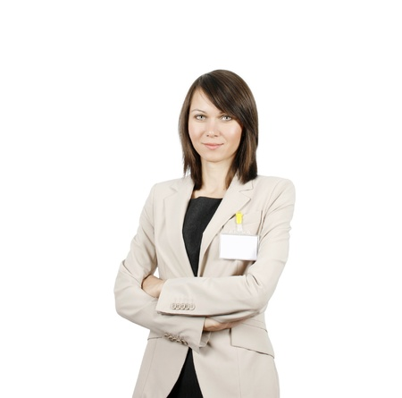 Businesswoman with id badge isolated on white background Stock Photo - 17798843