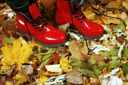 Red boots in the park photo