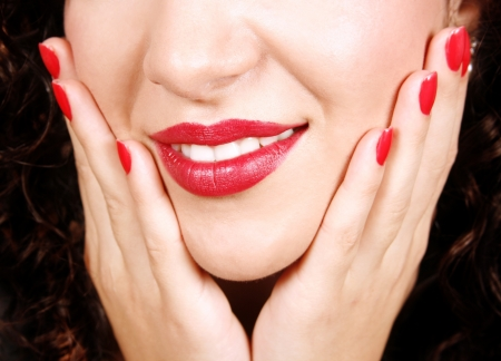 Closeup of beautiful nails and lips Stock Photo - 17799068