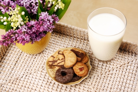 Breakfast with milk and cookies photo