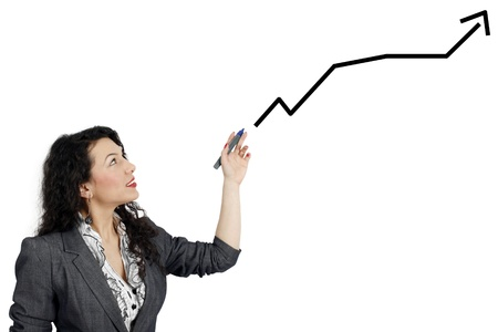 Business woman drawing a graph isolated on white background photo