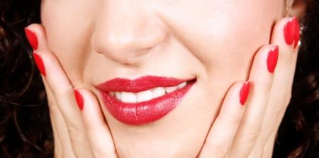 Closeup of beautiful nails and lips Stock Photo - 17872405