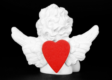 Love angel and red heart photo
