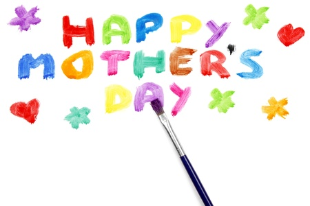 Happy mothers day on white background
