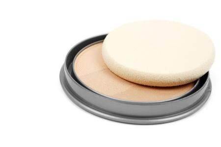 Face powder isolated on white background Stock Photo