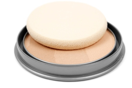 Face powder isolated on white background Stock Photo - 17872553