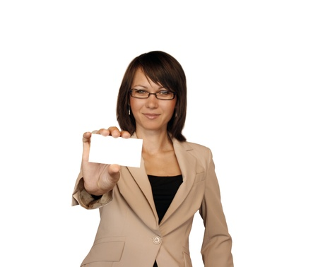businesscard: Businesswoman showing business-card isolated on white background