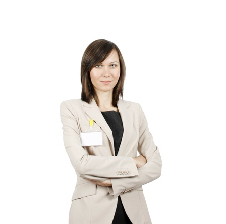 Businesswoman with id badge isolated on white background Stock Photo - 18072975