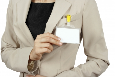Businesswoman showing her badge