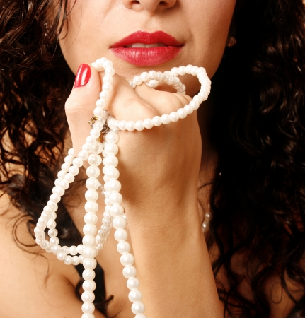 Beautiful woman with pearl necklace Stock Photo - 18073268