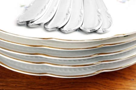 Vintage dishes and cutlery set