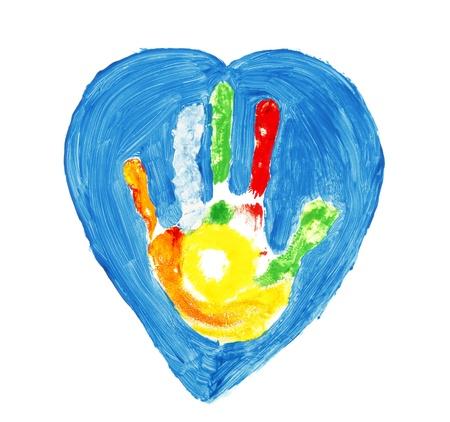 Colorful hand shape inside of a blue heart