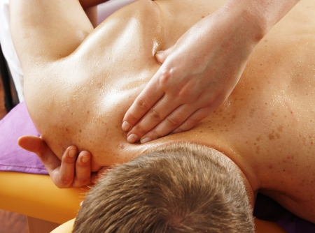 restore energy flow: Back massage on a man
