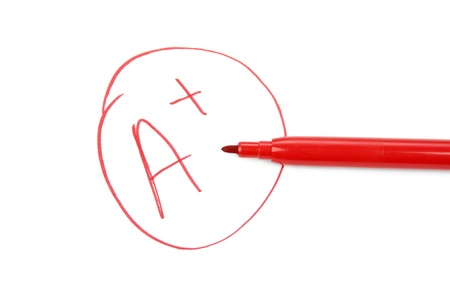 A plus on a test paper photo