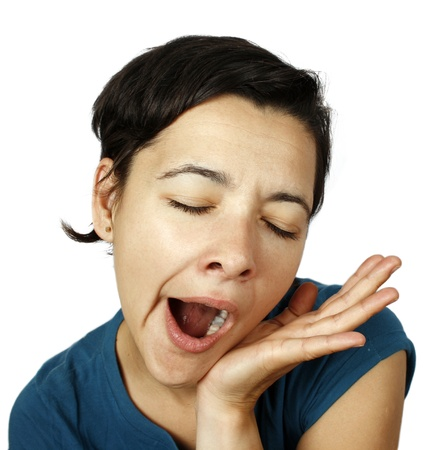 peacefully: Young beautiful woman yawning Stock Photo