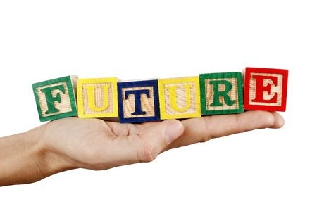 Future word in a hand isolated on white background Stock Photo