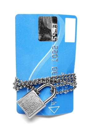 Blue card with chain and padlock Stock Photo