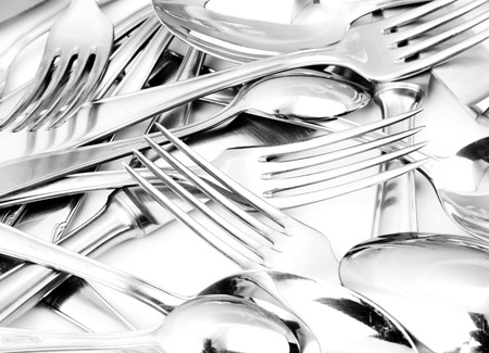 spoon and fork: Closeup of shiny spoon, knife and fork