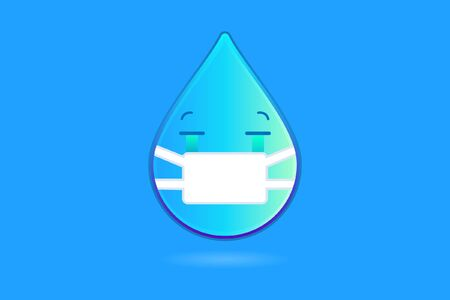 Crying Water Drop Emoji With Medical Mask to Protect Himself From Virus Attack