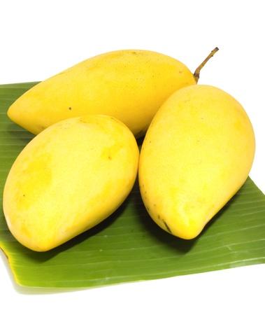 mango on banana leaf photo