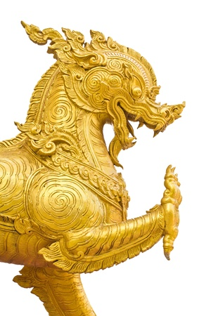a photo of thai art lion stature isolated
