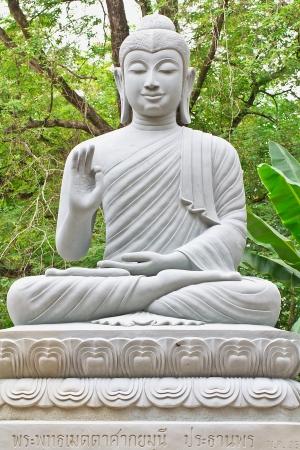 piedras zen: la imagen de Buda en madera para jardines Foto de archivo
