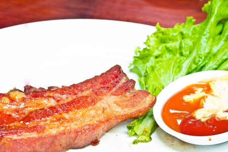 fat burning: a photo of rib ham steak Stock Photo