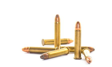 .22 bullets isolated on white backround photo