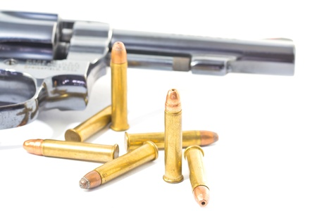 gun and bullets isolated on white background