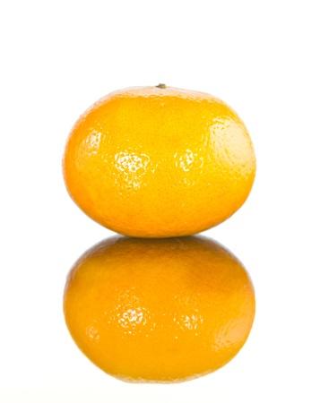 orange with reflec shadowisolated on a white background