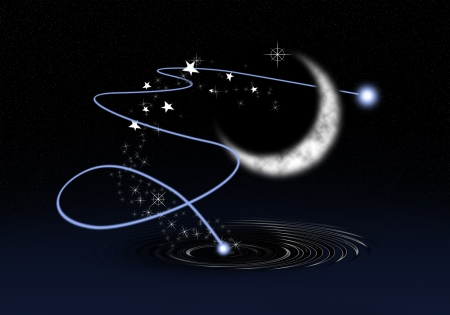 guid: a graphic of moon, star light and a wish from holy pool Stock Photo