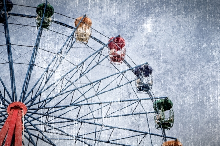 a photo of ferris wheel in graphic grunge style photo