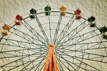 a photo of ferris wheel in vintage style,textured photo