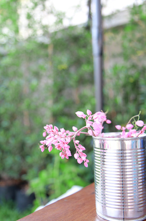 a photo of  pink flowers in can,graden view