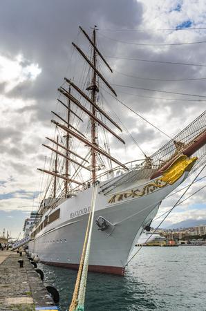 santa cruz: The SEA CLOUD II, a four-masted windjammer Invests in Tenerife in the port of Santa Cruz Editorial