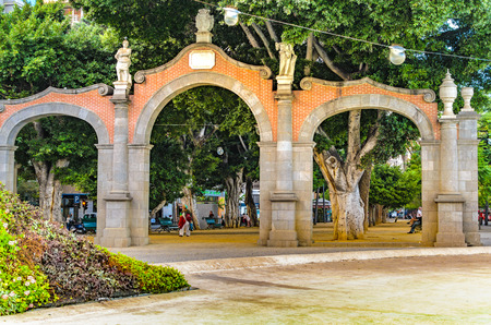 The archway Alameda del Duque at Plaza de Espana. Featured Buildings in Santa Cruz, the capital of Tenerife.