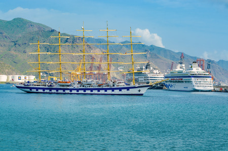 In the port of Santa Cruz. A five-masted sailing ship, the Royal Clipper Vollschiff. Places to See in Santa Cruz, the capital of Tenerife. Editorial