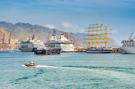 santa cruz: In the port of Santa Cruz. The Cruise Terminal. Places to See in Santa Cruz, the capital of Tenerife. Editorial