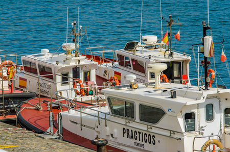 In the port of Santa Cruz. The pilot boats. Places to See in Santa Cruz, the capital of Tenerife.