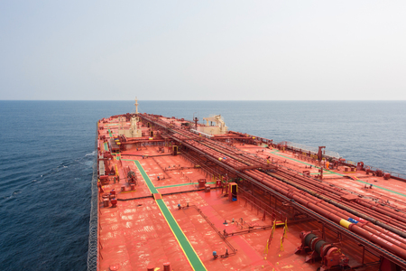 carriers: oil carriers deck with pipeline under clear sky - stock photo.