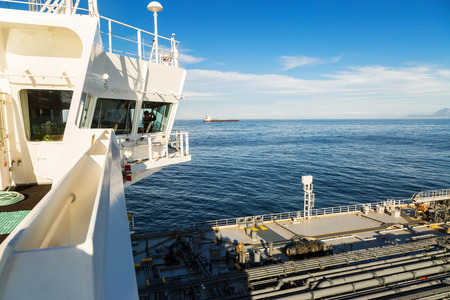 a watchman: Navigation bridge of a tanker with watchman inside Stock Photo